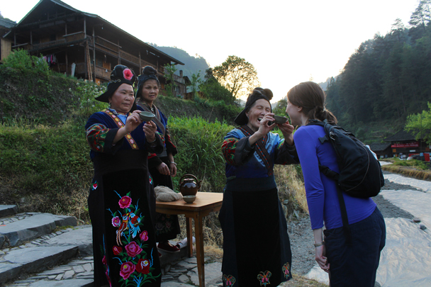 The customary welcome: 12 sips of rice liquor before you're allowed into the village - Miao and Dong culture in Guizhou, 2015/04