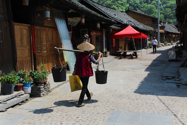 Carrying water back home, just as they've always done it - Miao and Dong culture in Guizhou, 2015/04