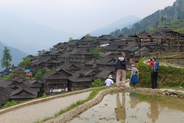 The village is also built into the hillside - Miao and Dong culture in Guizhou, 2015/04