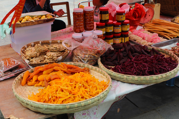 Street food: different types of dried sweet potato - Miao and Dong culture in Guizhou, 2015/04