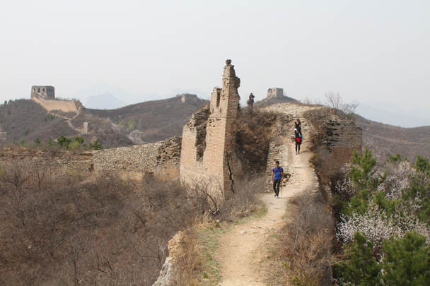 A few of the towers on this section show the scars from the 1933 war with the Japanese - Private hike for Beanstalk International Bilingual School, 2015/04/15