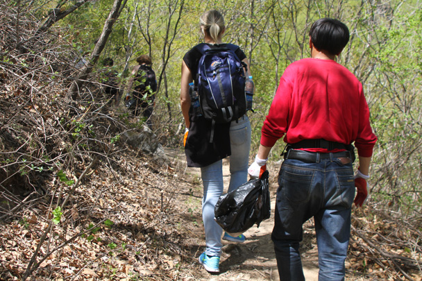 The trail to the Great Wall took us through forest - Earth Day Clean Up Hike at Jiankou, 2015/4/25