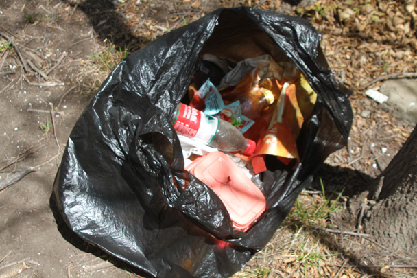 The trashbags were already filling up with empty bottles and food wrappers - Earth Day Clean Up Hike at Jiankou, 2015/4/25