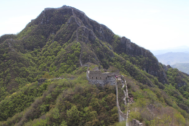 Looking back along the Great Wall towards the Chinese Knot - Earth Day Clean Up Hike at Jiankou, 2015/4/25