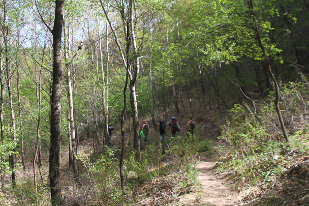 After we finished on the wall, we followed hill trails down to finish - Earth Day Clean Up Hike at Jiankou, 2015/4/25