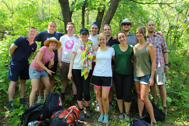 Group photo in a shaded spot - Great Wall Spur Camping, 2015/05