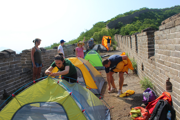 Setting up the tents for the night - Great Wall Spur Camping, 2015/05