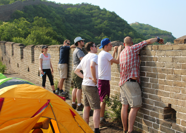 Looking at the next day's route - Great Wall Spur Camping, 2015/05