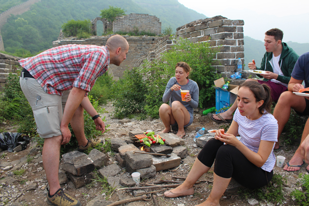 Open air campfire cooking - Great Wall Spur Camping, 2015/05