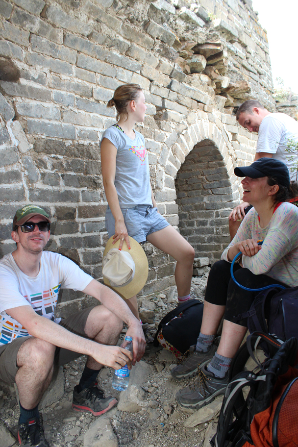 A rest in the shade of a tower - Great Wall Spur Camping, 2015/05