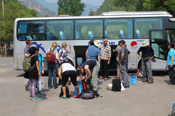 Everybody stocking up on water and preparing to start the hike up to the campsite - Great Wall Spur Camping trip, May 2015