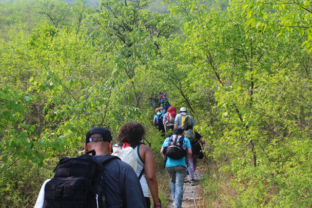 We hiked up to the Great Wall on a forest trail, in some very hot weather - Great Wall Spur Camping trip, May 2015