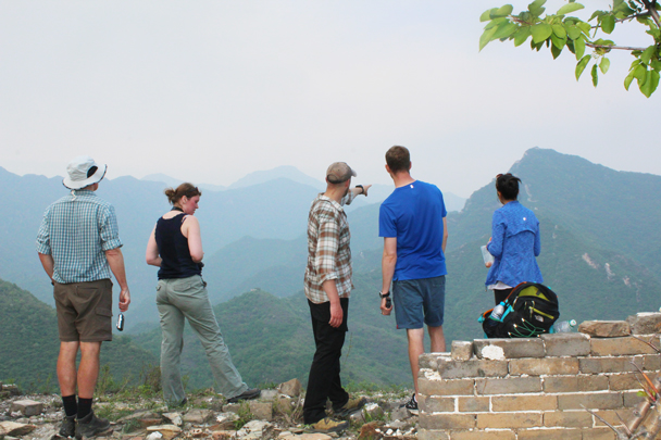 Hiking guide Simon points out the destination for the next day's hike - Great Wall Spur Camping trip, May 2015