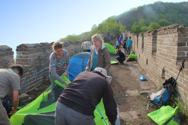 We helped each other set up camp - Great Wall Spur Camping trip, May 2015