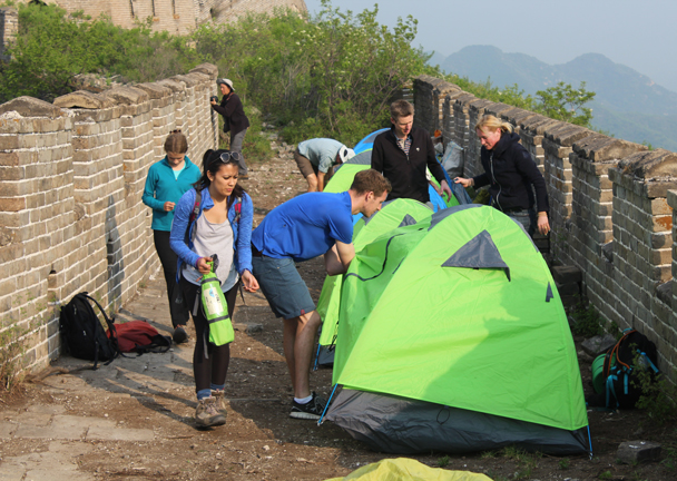 A few finishing touches and we were almost ready for the night - Great Wall Spur Camping trip, May 2015