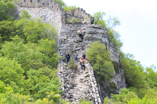 Another party tackling a very precarious climb on the Jiankou section of great wall - Great Wall Spur Camping trip, May 2015