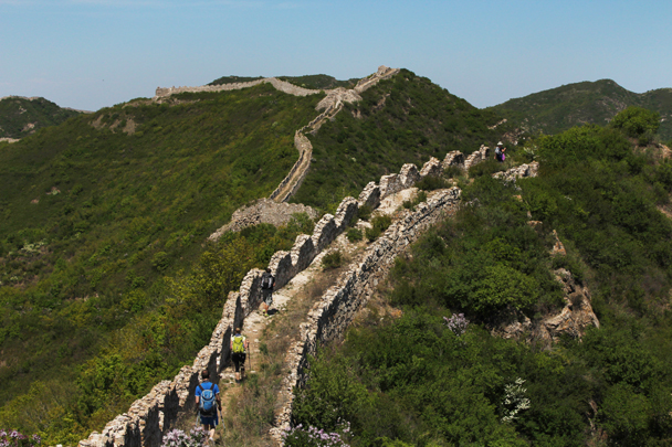 Striking white rock was used to build this section of the great wall - Zhenbiancheng to Big Camp Plate 20150516, 2015/05/16