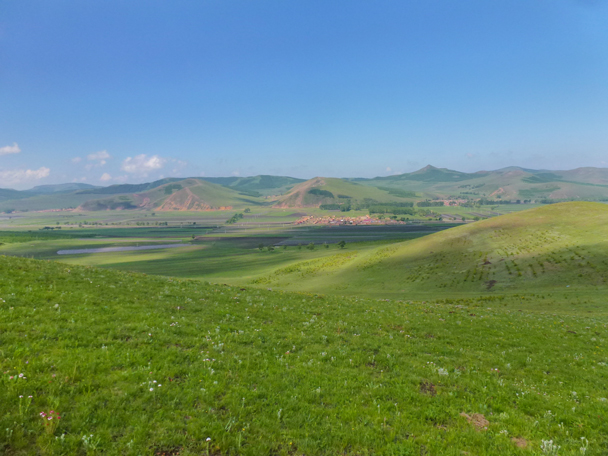 Looking back towards our starting point in the valley - Bashang Grasslands, Hebei Province, 2015/06