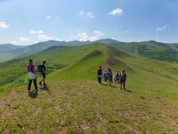 Heading along the ridge towards wind turbines - Bashang Grasslands, Hebei Province, 2015/06