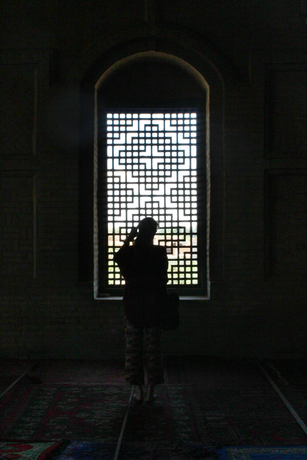 Framed in front of a window inside the mosque - Along the Silk Road from Korla to Kashgar, 2015/06