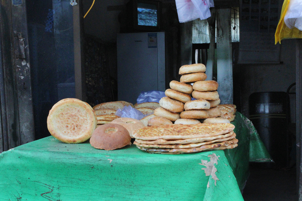Fresh naan bread - Along the Silk Road from Korla to Kashgar, 2015/06