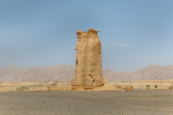 A Han dynasty-era (206 BC–220 AD) tower stands almost 11 metres tall - Along the Silk Road from Korla to Kashgar, 2015/06