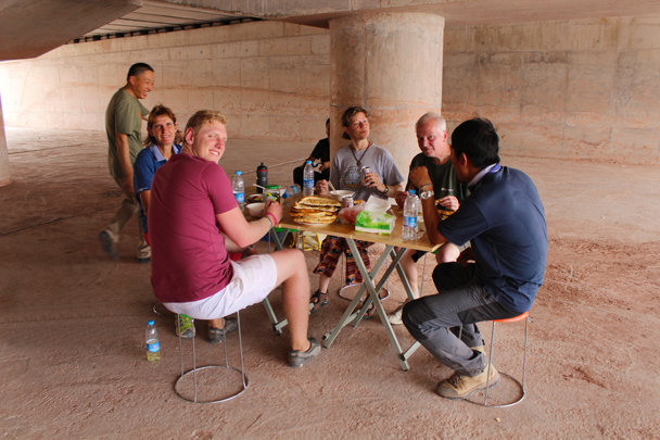 Lunch time in a shady spot under the highway - Along the Silk Road from Korla to Kashgar, 2015/06