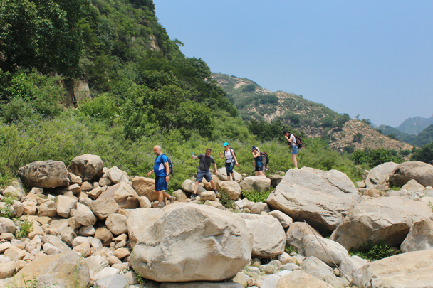 We walked over these boulders looking for a spot to swim - Yunmeng Gorge hike and swim, 2015/07/12