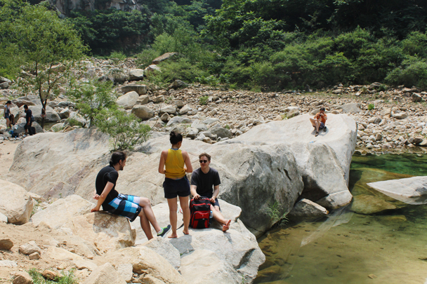After swimming we dried off on the rocks - Yunmeng Gorge hike and swim, 2015/07/12