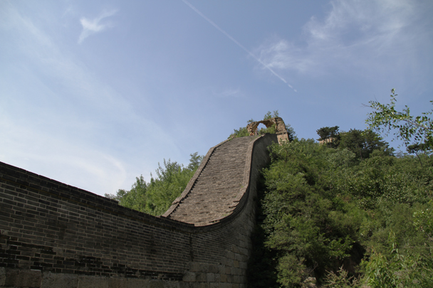 Some very steep steps on a partially restored section of wall - Walled Village to the Little West Lake, 2015/08/08