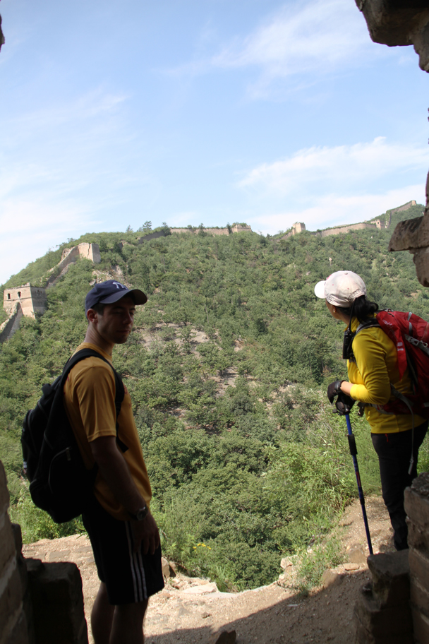 Taking a break in a tower while looking at the next part of the hike - Walled Village to the Little West Lake, 2015/08/08