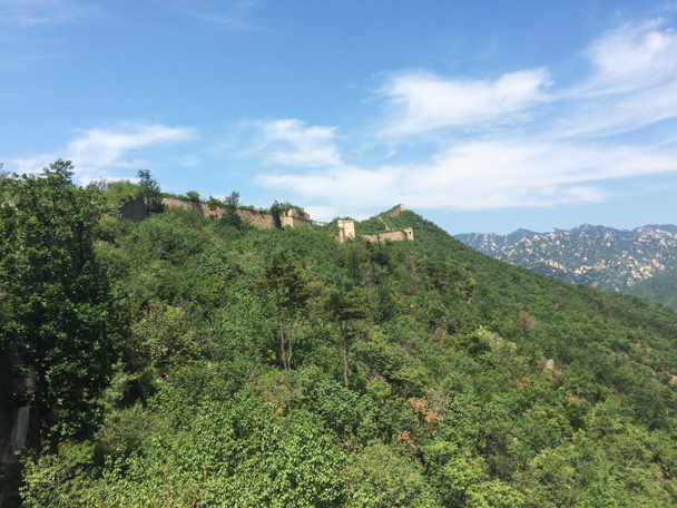The Great Wall is almost hidden amongst the greenery - Walled Village to the Little West Lake, 2015/08/08