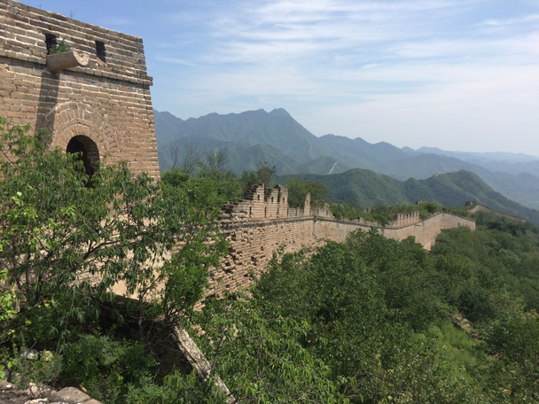 Looking back along the wall, with more Great Wall faintly seen in the hills in the background - Walled Village to the Little West Lake, 2015/08/08