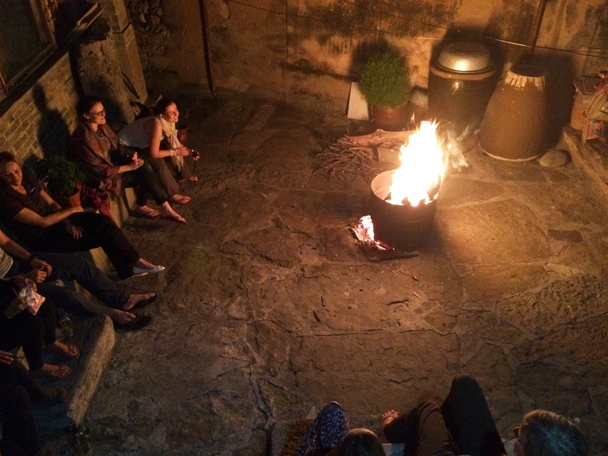 Story-time by the bonfire at night - Ming Village overnight, 2015/08