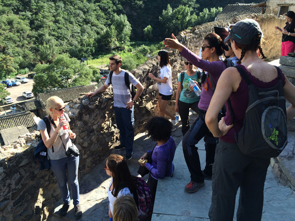 Jun is pointing out some features of the village - Ming Village overnight, 2015/08