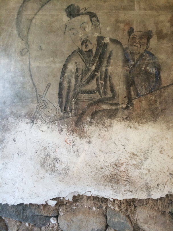 Real old paintings on the wall of a village courtyard - Ming Village overnight, 2015/08