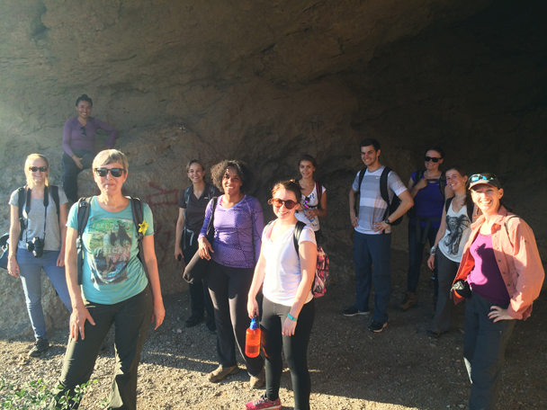 The group all gathered in the big cave - Ming Village overnight, 2015/08