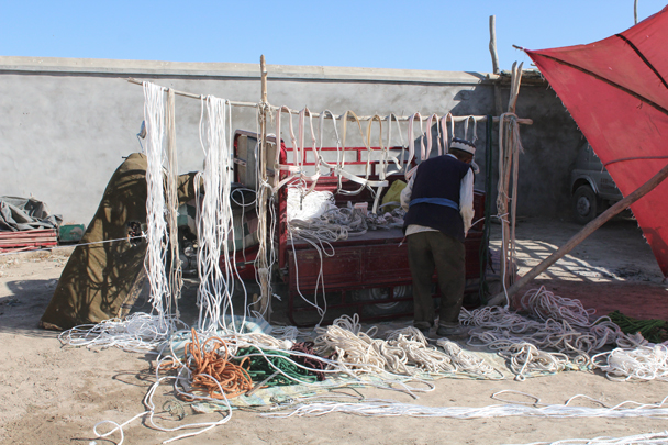 Rope for sale at the livestock market - Along the Silk Road from Korla to Kashgar, 2015/09