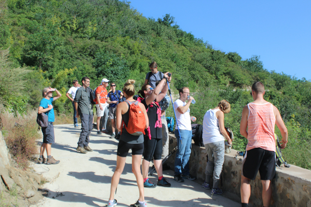 Getting ready to do the big hill climb at the start of the hike - the reason this one is called the High Rise - High Rise hike to the Walled Village, 2015/09/26