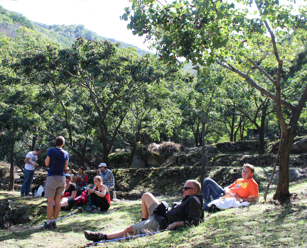 Relaxing in terraces below hawthorn trees - High Rise hike to the Walled Village, 2015/09/26