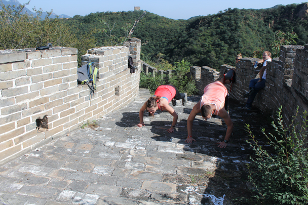Burpees competition on the Great Wall - High Rise hike to the Walled Village, 2015/09/26