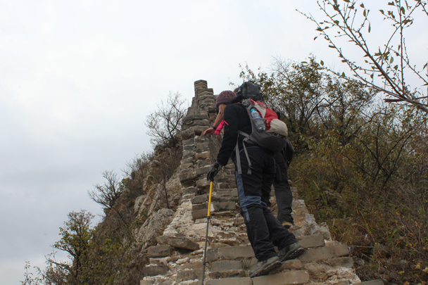 Hiking on a steep section - Middle Route of Switchback Great Wall, 2015/10/25