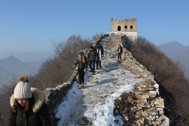 The trail was rather icy, and we took it slow - Boxing Day Great Wall hike at Jiankou and Mutianyu, 2015/12/26