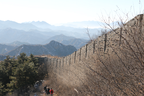 Part of the unrestored section at Jinshanling. At this point we're on the outside of the wall - imagine how tough it would have been to attack here - Hemp Village to Jinshanling Great Wall, 2016/01/10