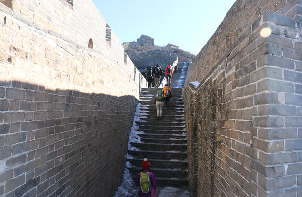 The Jinshanling Great Wall is built on ridges, with a lot of steep stairs - Hemp Village to Jinshanling Great Wall, 2016/01/10