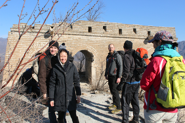 Finally on the wall, at a big tower on a high point - Walled Village to Huanghuacheng Great Wall, 2016/01/13