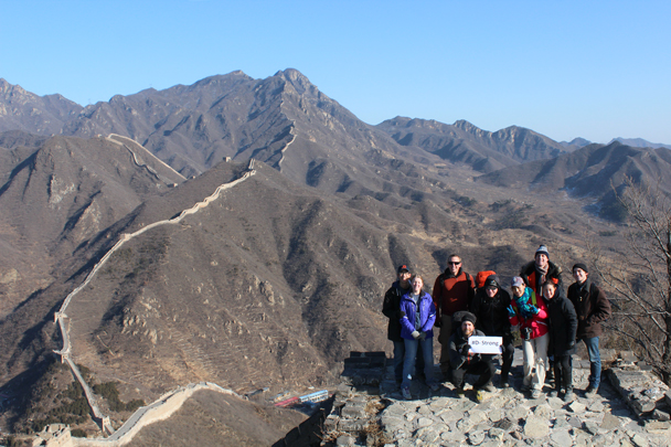 Our group pose for a photo showing their support for a young cancer victim - Walled Village to Huanghuacheng Great Wall, 2016/01/13