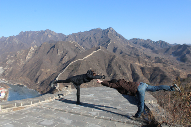 Also a good spot for some yoga?! - Walled Village to Huanghuacheng Great Wall, 2016/01/13