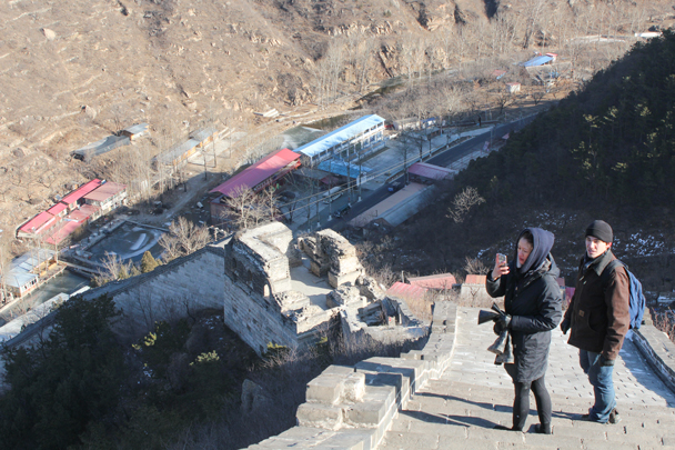 Down below is where we finish the hike - Walled Village to Huanghuacheng Great Wall, 2016/01/13