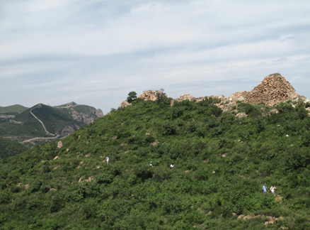 Hills with wall in background, Beijing Hikers Yanqing Great Wall and Long Valley City hike, 2009-08-23